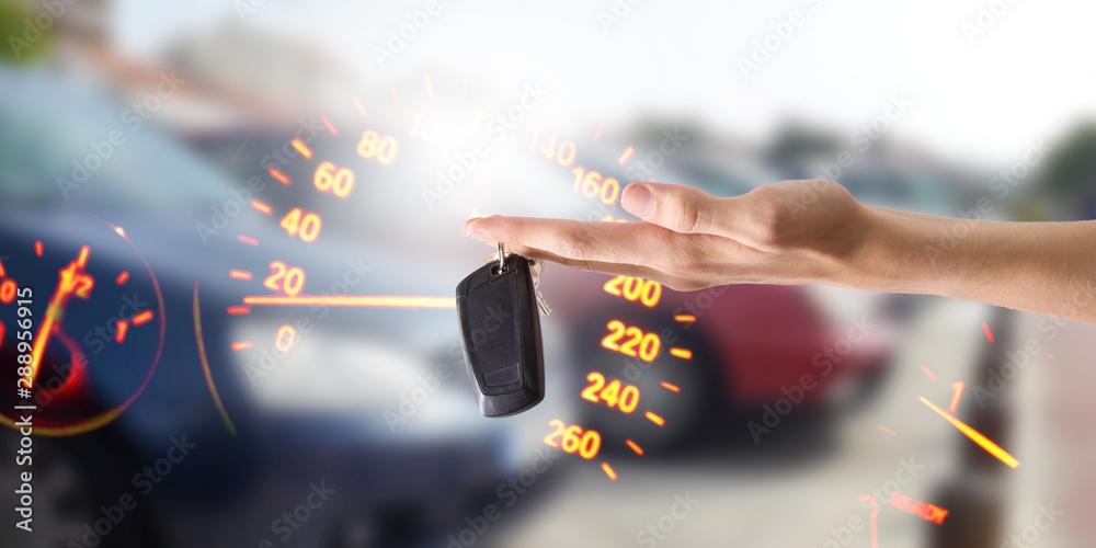 Fototapeta hands with keys or car control, buy car
