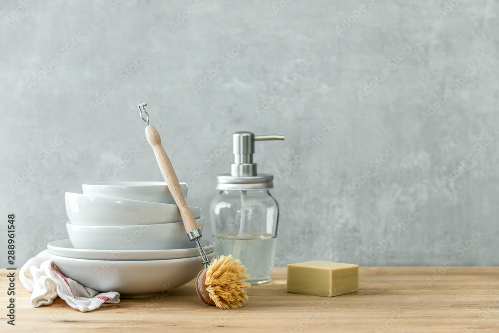 Fototapety, obrazy: Zero waste home kitchen cleaning concept