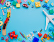 canvas print picture - Frame of kids toys on blue background