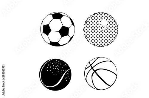 Vector Sport Balls Silhouettes Set