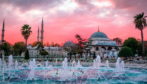 Vászonkép The Blue Mosque, (Sultanahmet Camii) in sunset, Istanbul, Turkey.