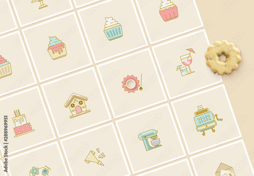 Fototapety, obrazy: Cake and Cookies Bakery Icon Set