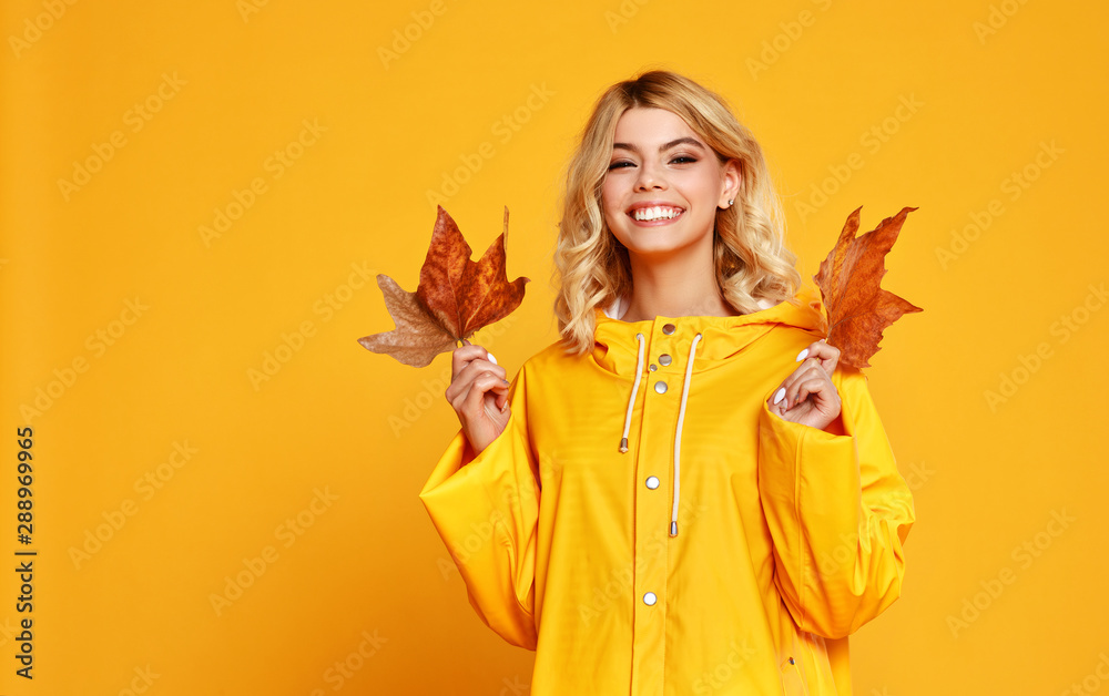 Fototapeta happy emotional girl with autumn leaves on colored yellow background