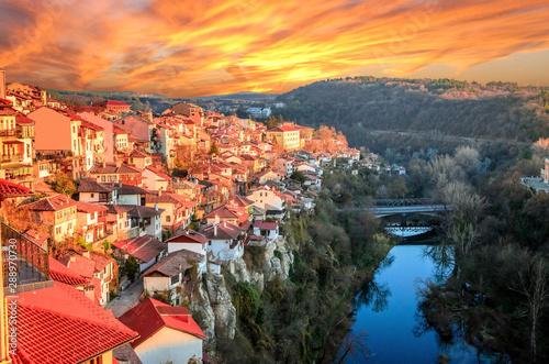 Foto auf Leinwand Koralle Aerial view of Veliko Tarnovo in a beautiful autumn day, Bulgaria