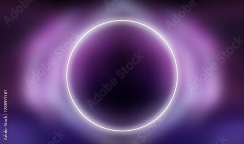 Koło pośrodku świecące w tle ultrafioletu. Streszczenie tło nowoczesne neon.