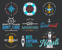 Nautical Vintage Prints Designs Set For T-shirt. Marine Logos And Badges. Retro Typography With Lighthouse And Seagull. Navy Emblem, Sea And Ocean Style Tees Collection. Stock Vector Illustration