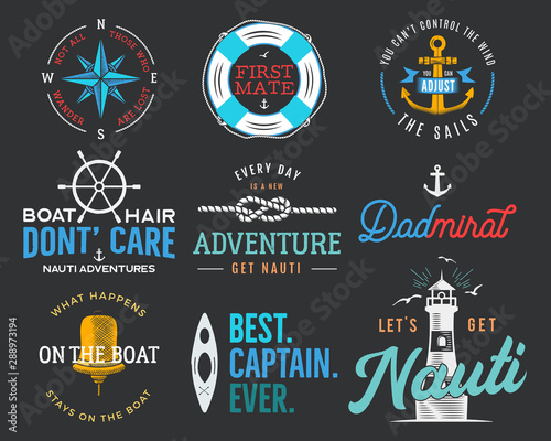 Fototapeta Nautical vintage prints designs set for t-shirt