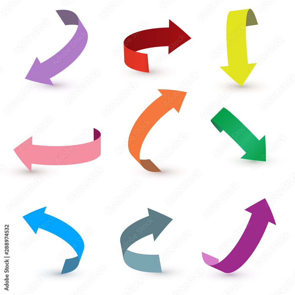 Fototapety, obrazy: Colorful ribbon arrow set. Arrow stickerst various angles and directions. 3d vector icon set.