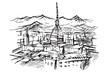 Rysynek ręcznie rysowany. Widok na miasto w Turynie na tle Alp