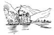 Rysynek ręcznie rysowany. Widok na Zamek Chillon w Szwajcari