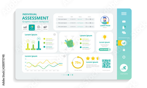 Web panel for individual assessment in infograpic template Wallpaper Mural