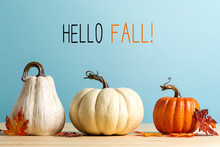 Hello Fall Message With Pumpki...