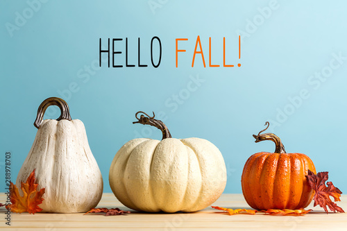 Hello fall message with pumpkins on a blue background - 288978703