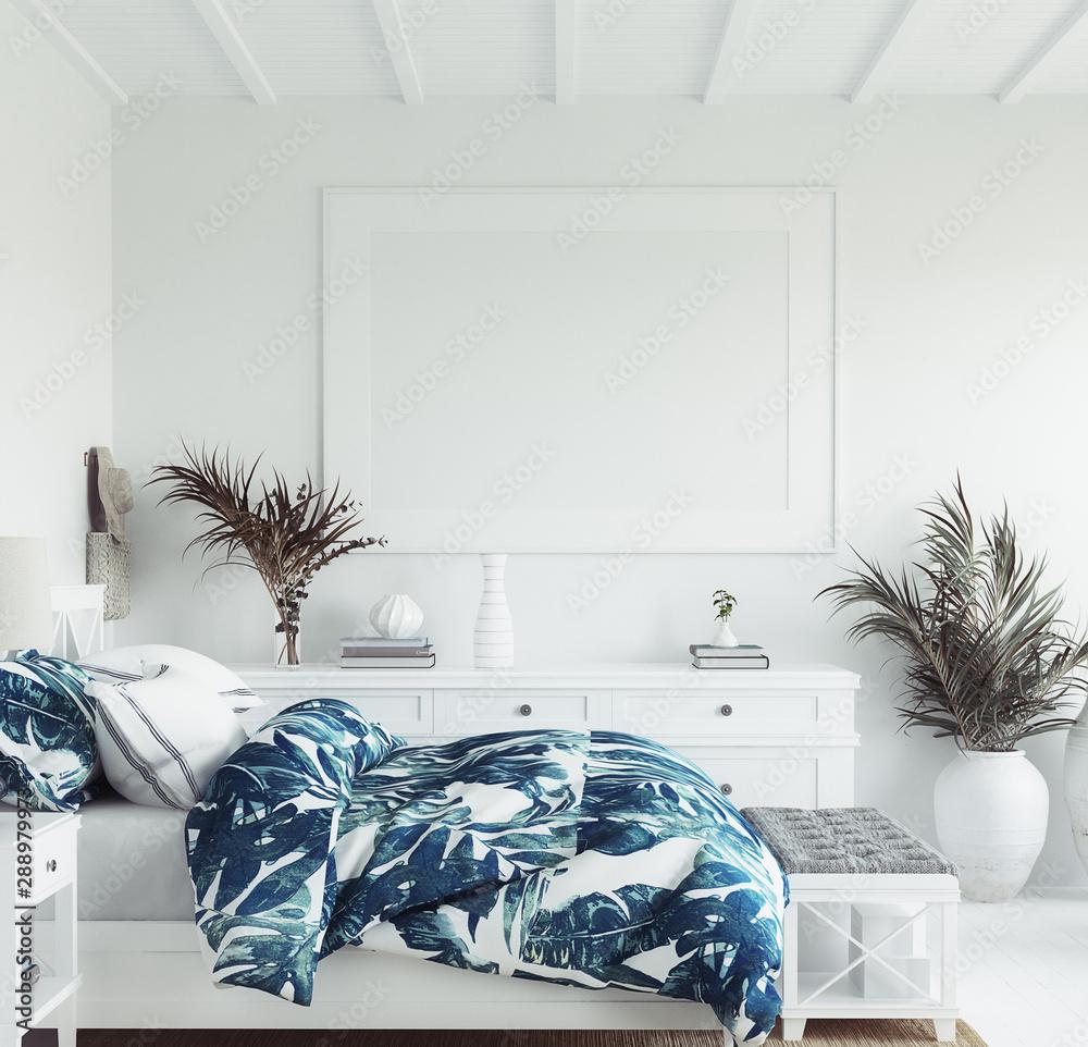 Fototapety, obrazy: Mock up frame in white cozy tropical bedroom interior, Coastal style, 3d render