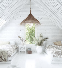 White Cozy Tropical Bedroom Interior In Attic, Scandi-Boho Style, 3d Render