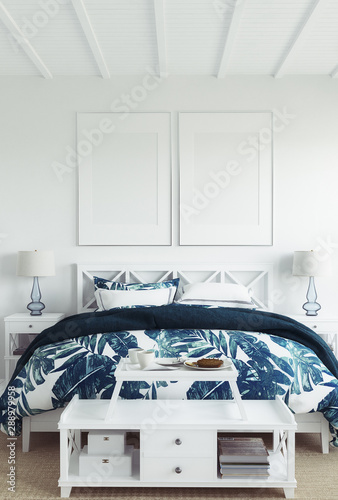 obraz PCV Mock up frame in white cozy tropical bedroom interior, Coastal style, 3d render