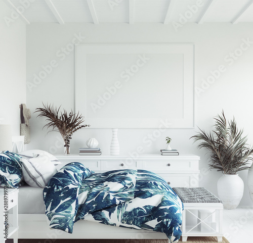 obraz dibond Mock up frame in white cozy tropical bedroom interior, Coastal style, 3d render