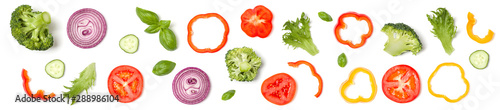 Creative layout made of tomato slice, onion, cucumber, basil leaves Wallpaper Mural