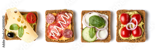 Canvas Print Collection of Open faced Sandwich crostini isolated on white background closeup