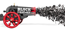 Old Black Cannon With The Words BLACK FRIDAY Firing A Stream Of Discount Coupons From 10 To 80 Percent In Black And White On A White Background. 3D Illustration