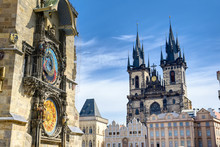 The Prague Astronomical Clock Located At The Old Town Hall And The Church Of Our Lady Before Tyn In Prague, Czech Republic.