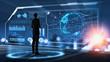 Leinwanddruck Bild - Businessman searching for big data.Digital transformation concept.Innovative and High technology Of Business.