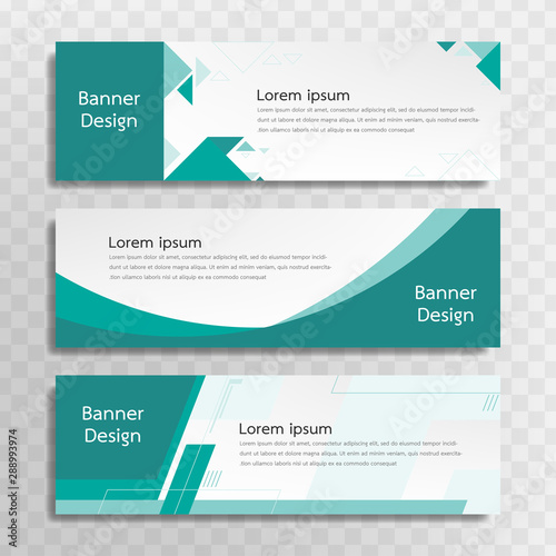 Fototapeta A set of green banner templates designed for the web and various headlines are available in three different designs. obraz