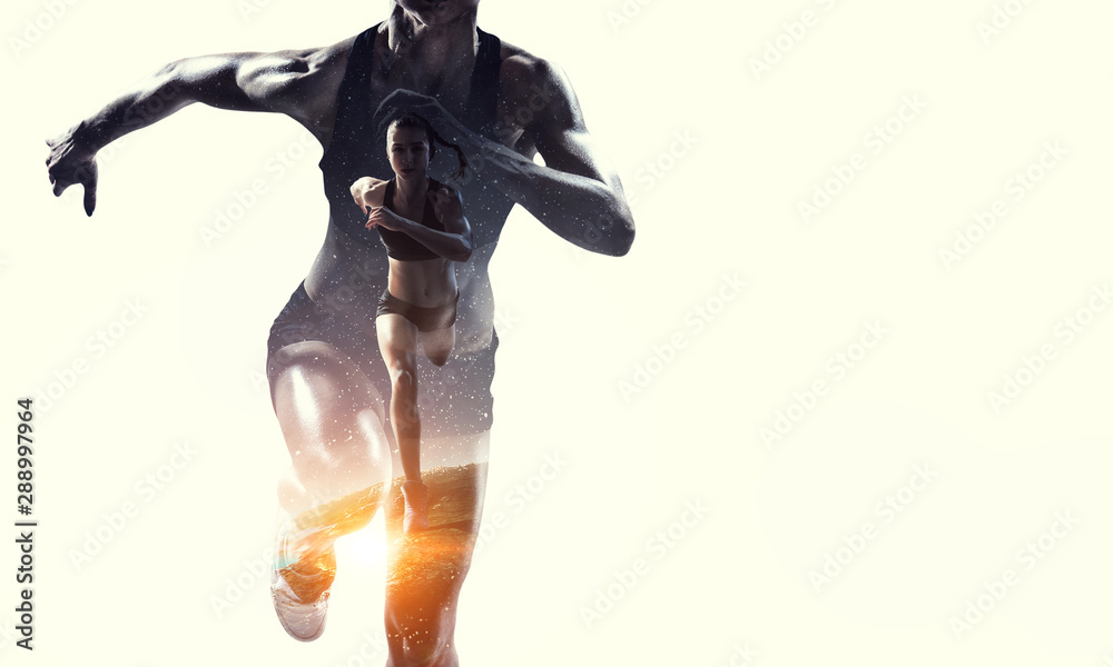 Fototapety, obrazy: Athlete woman on white. Mixed media
