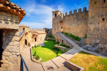 Exterior of Rocca della Guaita castle in San Marino, Italy