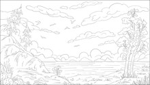 Coloring Book Landscape. Hand Draw Vector Illustration With Separate Layers.