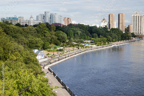 Amur River embankment in sports and park complex of city of Khabarovsk, Russia Fototapeta