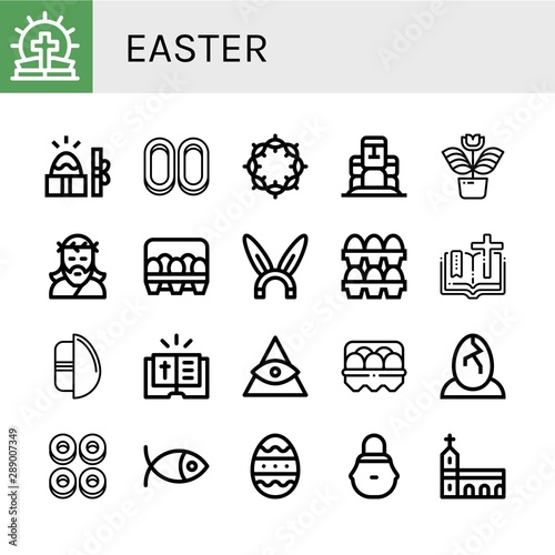 Set of easter icons such as Bible, Easter, Cracknels, Crown of thorns, Moai, Flo Fototapete