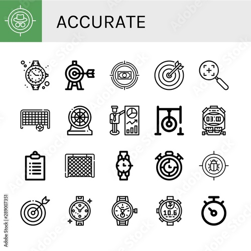 Photo Set of accurate icons such as Target, Watch, Goal, Darts, Darts target, Stopwatc