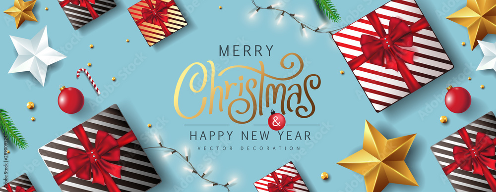 Fototapety, obrazy: Merry Christmas and Happy New Year background banner.Merry Christmas vector text Calligraphic Lettering Vector illustration.