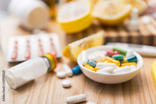Photo Concept of flu treatments with pills