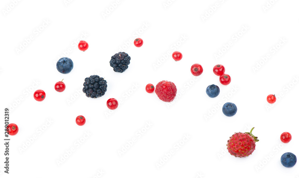 Fototapety, obrazy: berry mix isolated on a white background