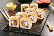 Leinwanddruck Bild Crispy Tempura Maki Sushi Rolls or Uramaki with Raw Salmon