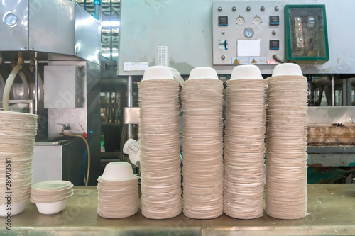 Photo food bowl Made from fiber of bagasse in factory
