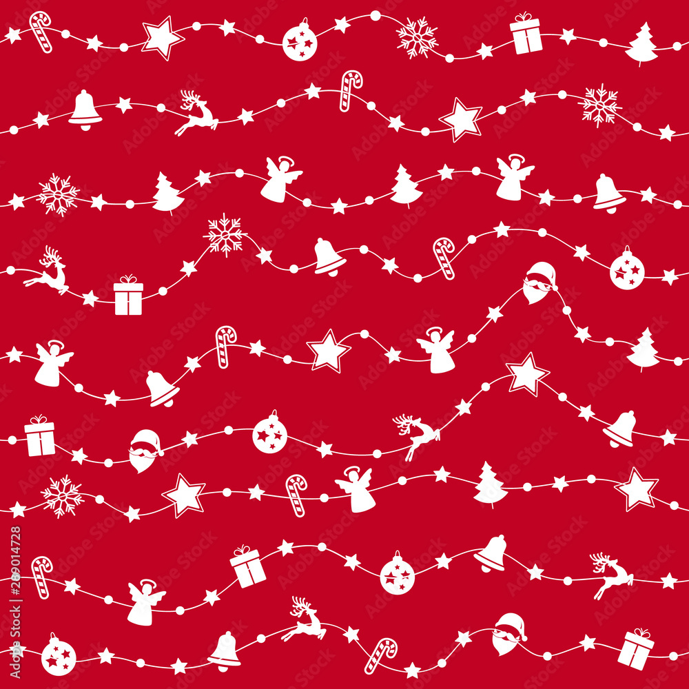 Foto-Leinwand ohne Rahmen - Christmas ornaments on rope line seamless pattern red background