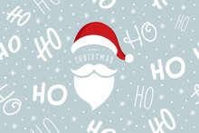 Ho Ho Ho Santa Claus Laugh Hat And Beard Seamless Texture Pattern Blue Background