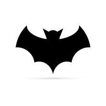 Black Bat Icon. Silhouette. Stencil, Halloween Symbol. Flying Bat Cartoon Vampire. Vector Illustration.
