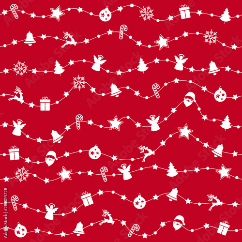 Foto-Vinylboden - Christmas ornaments on rope line seamless pattern red background (von Pixasquare)