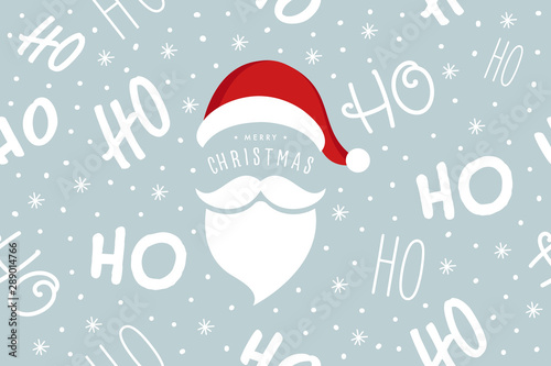 Türaufkleber Künstlich Ho ho ho Santa Claus laugh hat and beard seamless texture pattern blue background