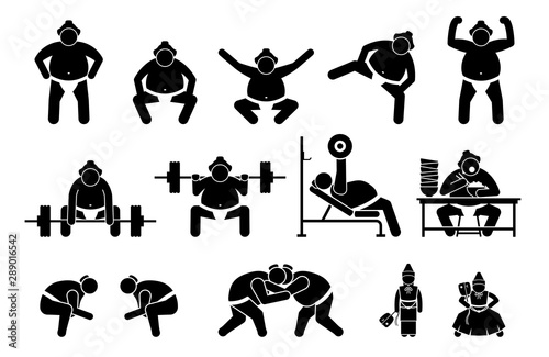 Japanese Sumo wrestler icons pictogram. Simple set icons cliparts depict sumo wrestler standing position, squatting, raising leg, gym workout, eating, and wrestling stance postures with Gyoji referee.