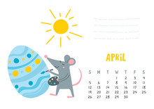 April. Vector Calendar Page Wi...