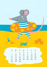 June. Vector Calendar Page With Cute Rat At Beach - Chinese Symbol Of 2020