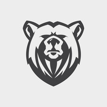 Bear Head Mascot Vector For Emblem Design With Color Grey