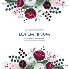 Vector Illustration Of A Beatiful Floral Frame In Summer For Wedding, Anniversary, Birthday And Party. Design For Banner, Poster, Card, Invitation And Scrapbook