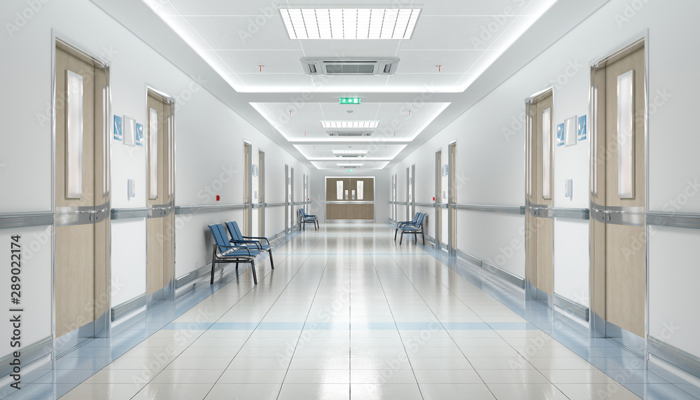 Fototapeta Long hospital bright corridor with rooms and seats 3D rendering