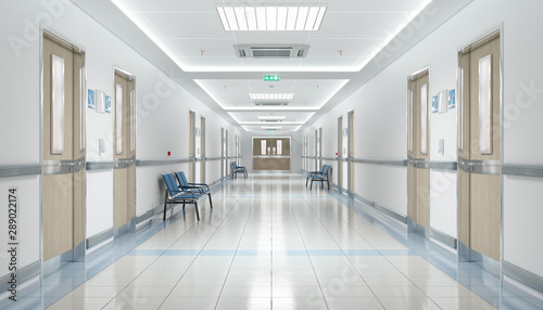 Carta da parati  Long hospital bright corridor with rooms and seats 3D rendering